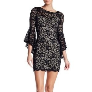 JUST FOR WRAPS Bell Sleeve Lace Mini Dress